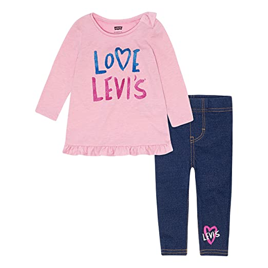 980576dcd9a Levi's Baby Girls' Long Sleeve Tunic Top and Leggings 2-Piece Set
