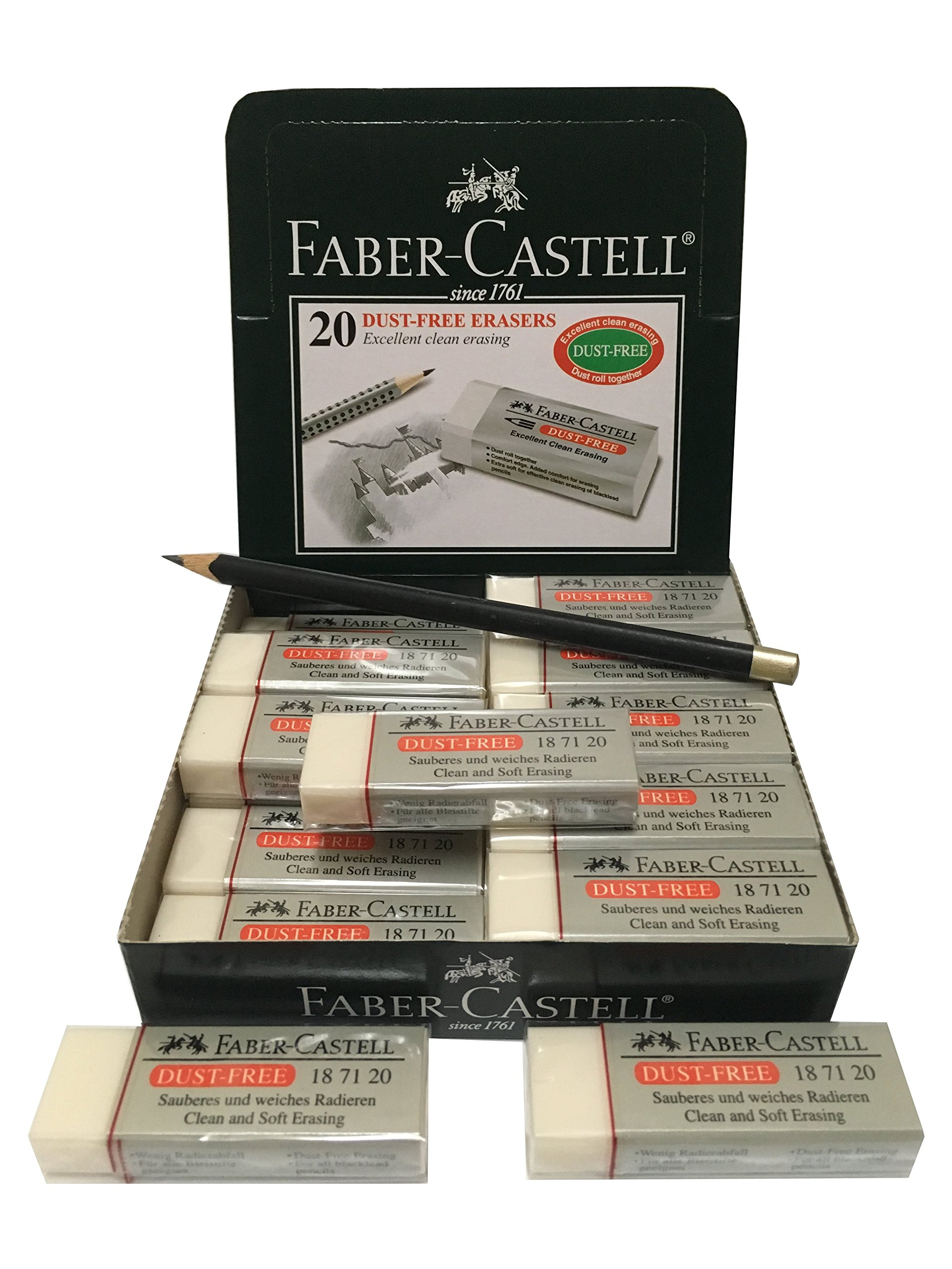 Faber-Castell Large Excellent Dust Free Soft Clean Pencil Eraser Erasers Bulk Pack Suitable For Art Drawing Office & School Use [Box of 20] (6.2x2x1.25cm)