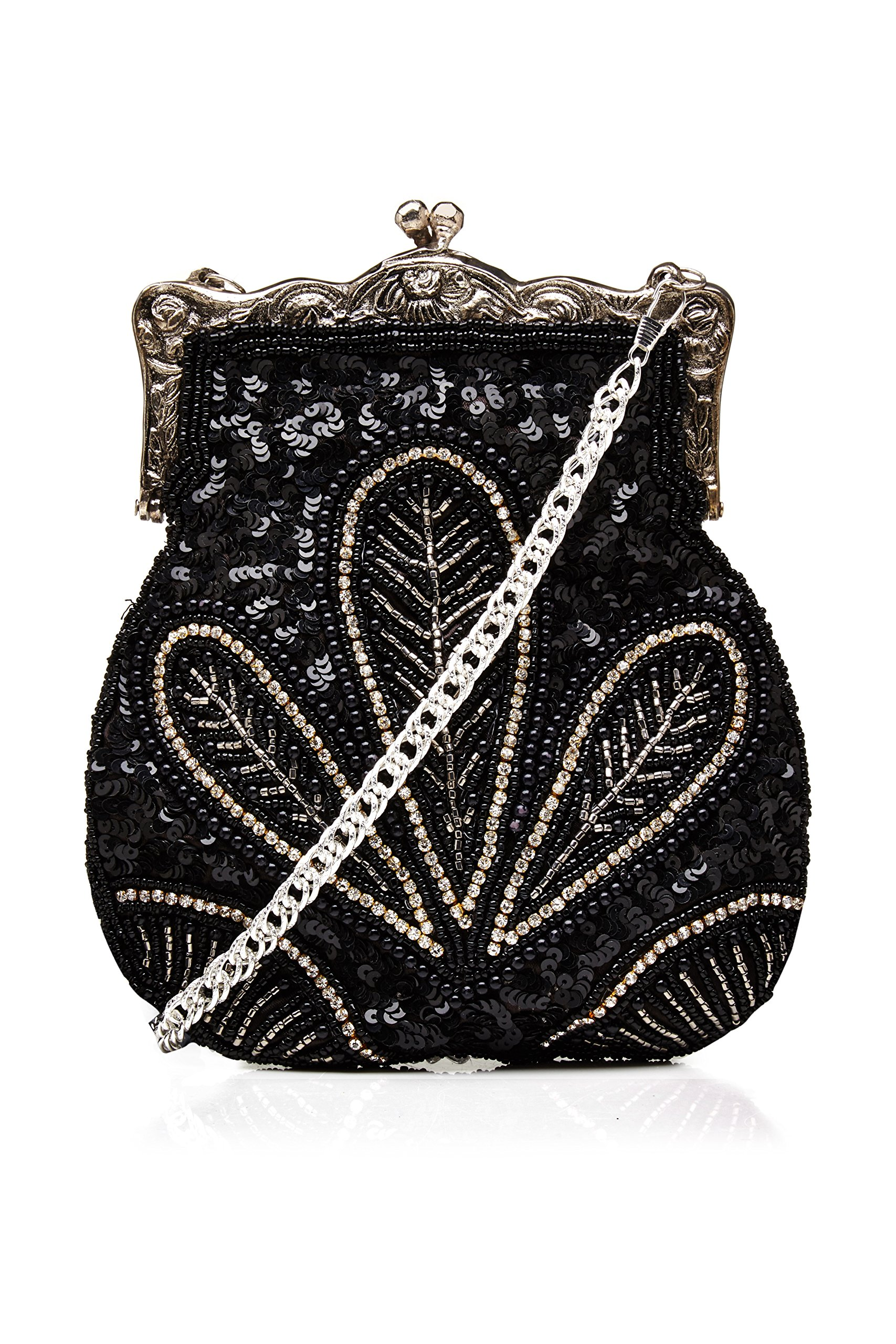 Dollie Vintage Inspired Hand Beaded Flapper Purse in Black by gatsbylady london