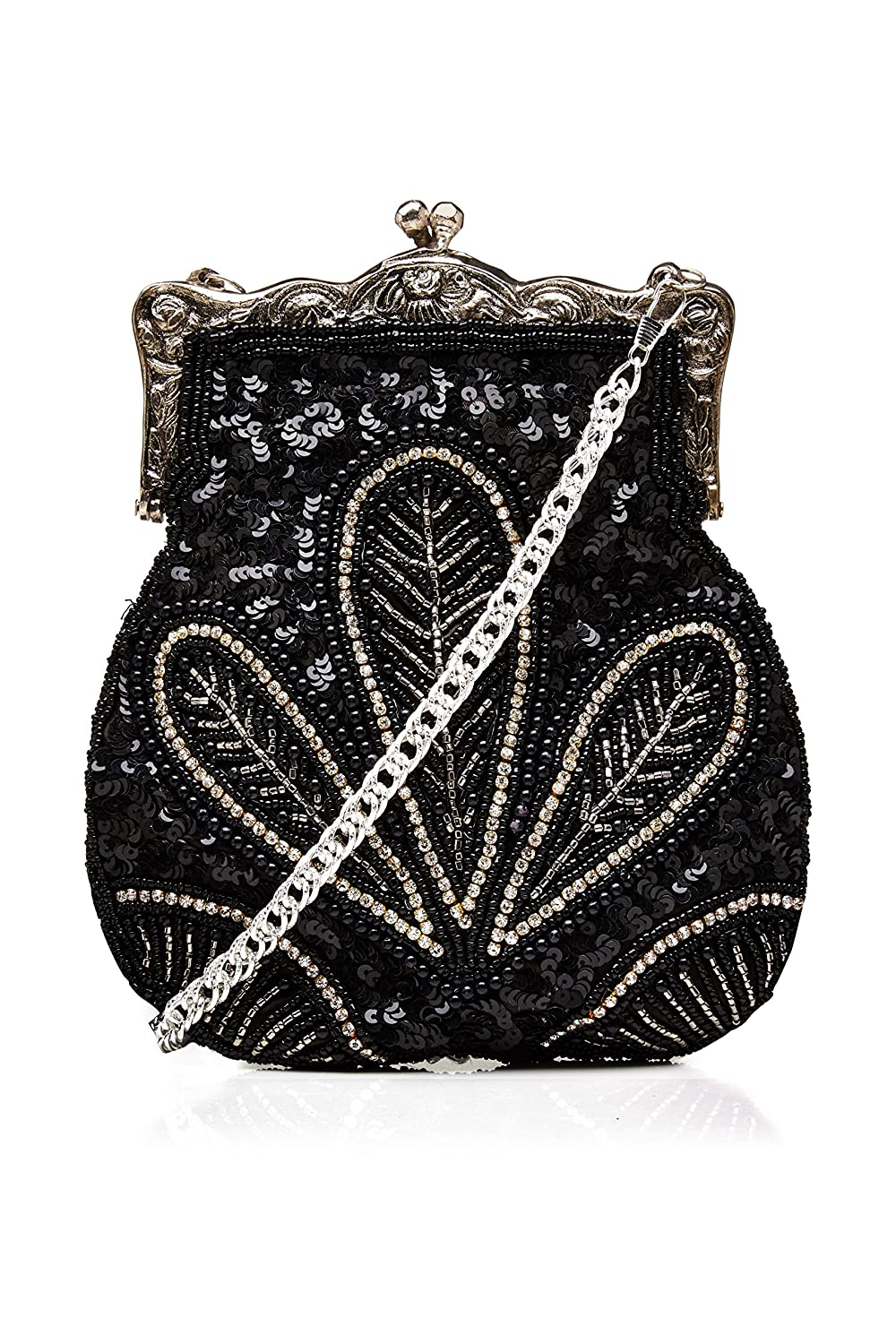 Vintage & Retro Handbags, Purses, Wallets, Bags Dollie Vintage Inspired Hand Beaded Flapper Purse in Black $77.16 AT vintagedancer.com
