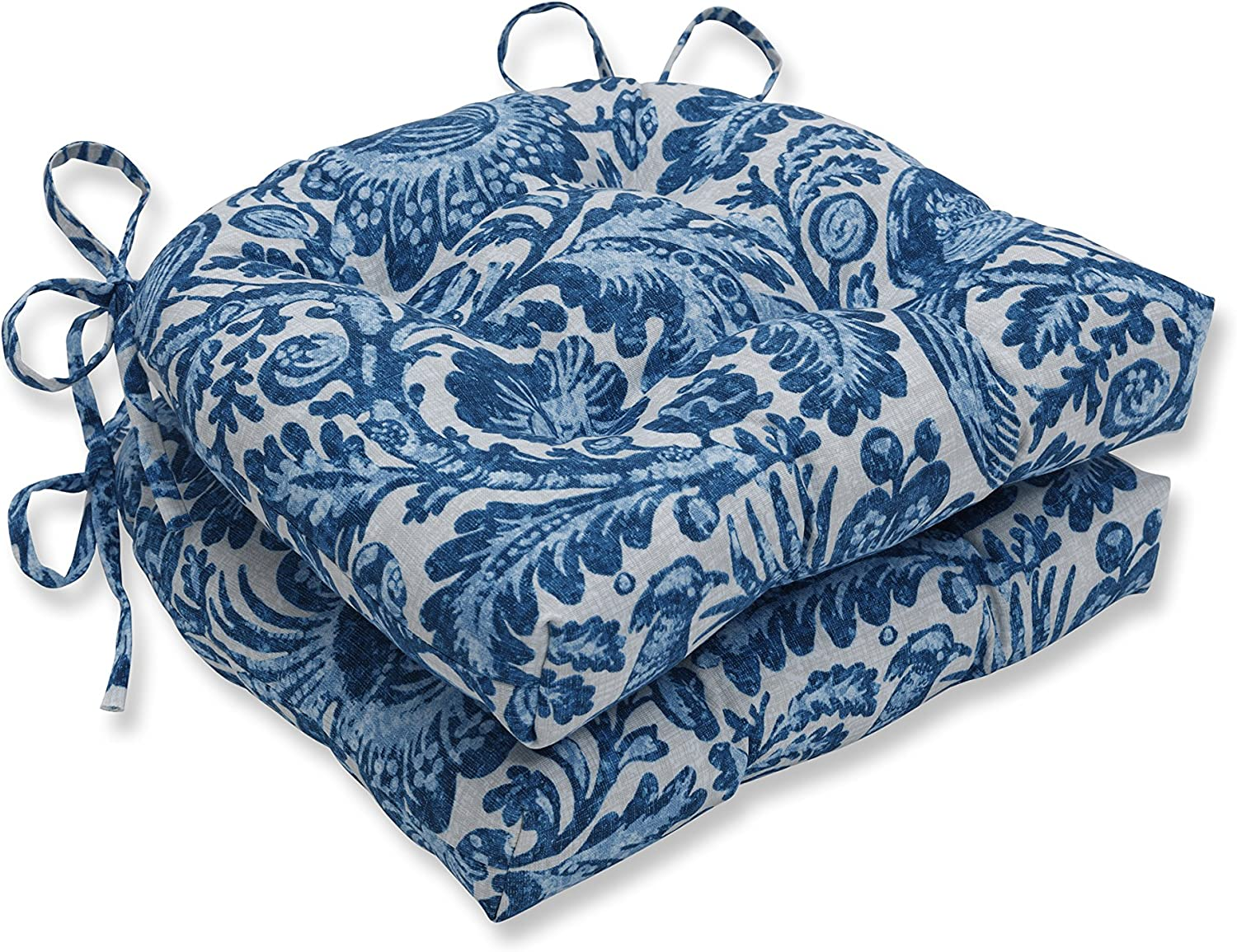 Pillow Perfect Outdoor | Indoor Tucker Resist Azure Reversible Chair Pad (Set of 2), Blue 16 X 15.5 X 4