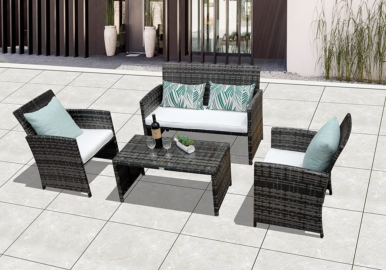 Gradient Brown Patiorama 4 Pieces Patio Loveseats Outdoor Furniture Sets with Seat Cushions Grey-4 Outdoor PE Wicker