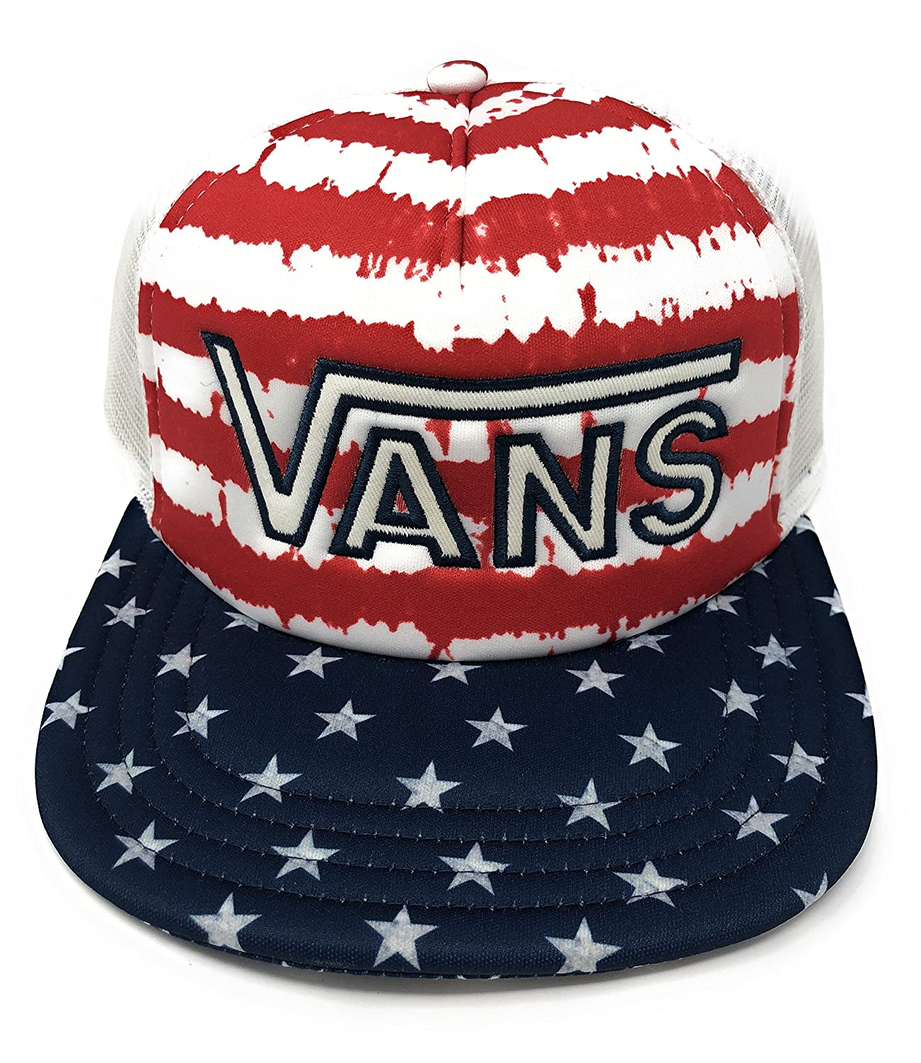 d20699aedb Vans Drop V Americana Flag Stars Stripes Trucker Hat at Amazon Men s  Clothing store