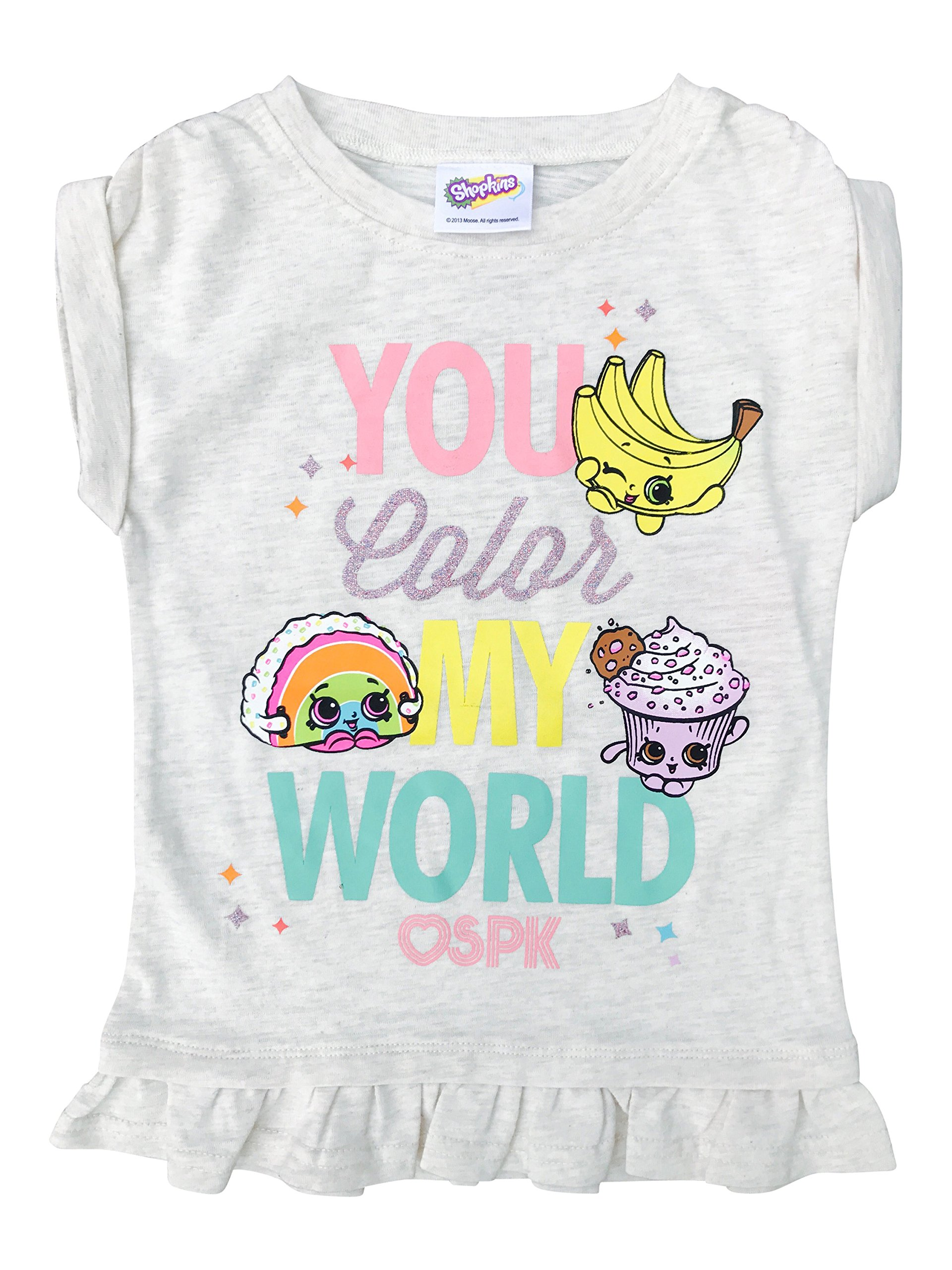 Shopkins Girls' Tee Shirt You Color My World W/Ruffle Hem Oatmeal Size 4