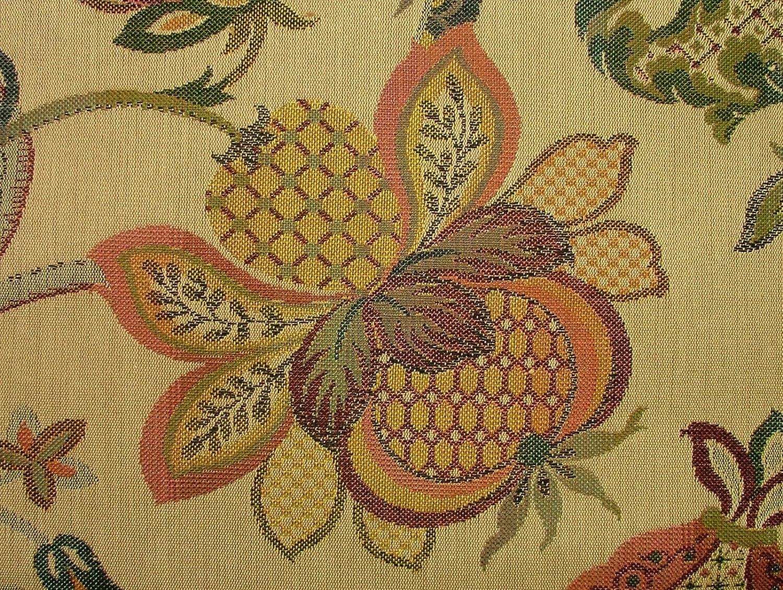 Jacobean Garden Gold Woven Jacquard Curtain Upholstery Cushions Designer Fabric