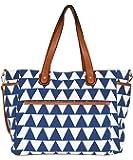 "Triangle Tote Bag ""The Libra"" White Elm Designer Collection Canvas & Vegan Leather Trim Diaper/Laptop Bag"