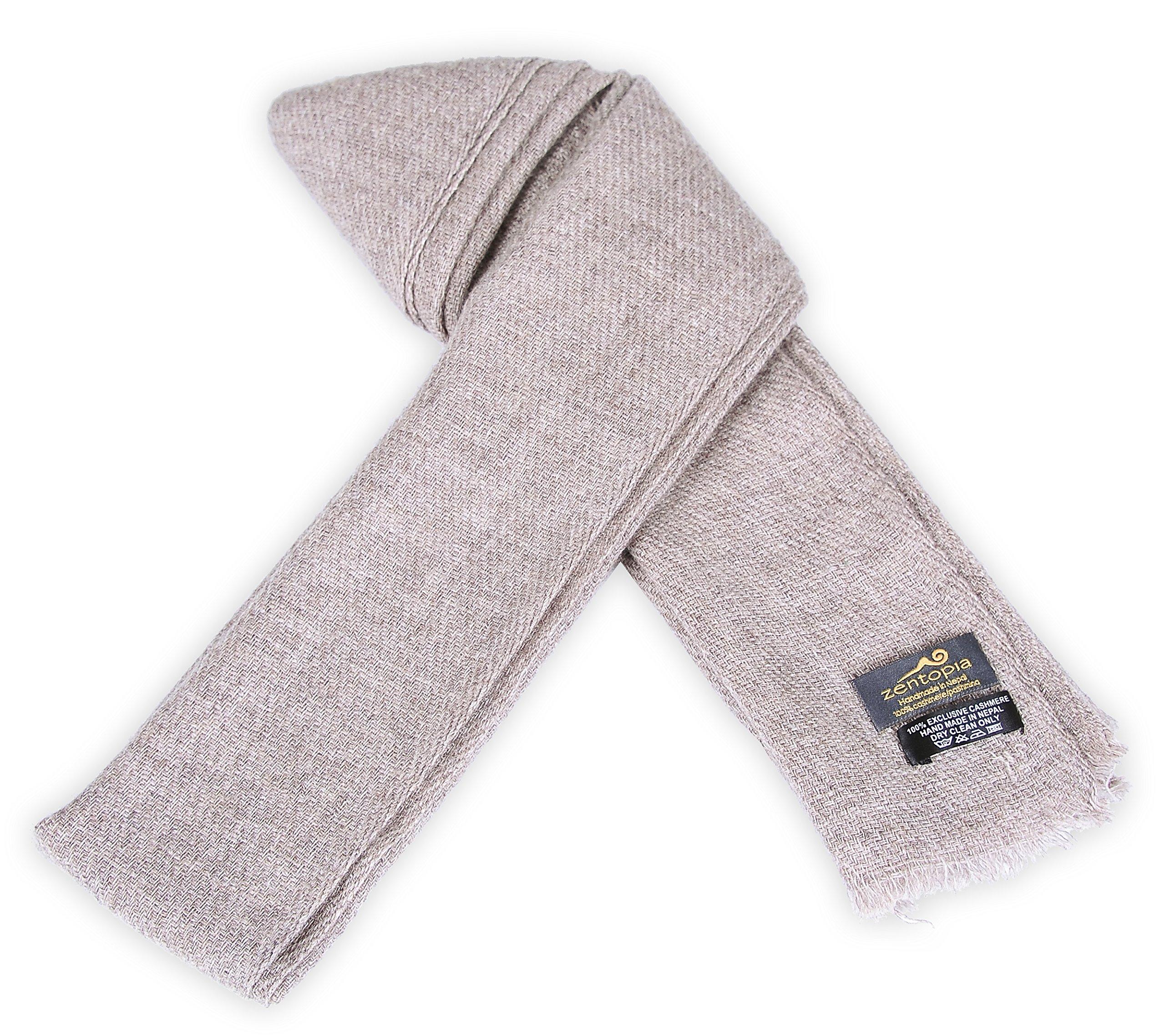 Zentopia classic 100% Grade A cashmere handmade scarf narrow cut light weight (Khaki) by Zentopia (Image #2)