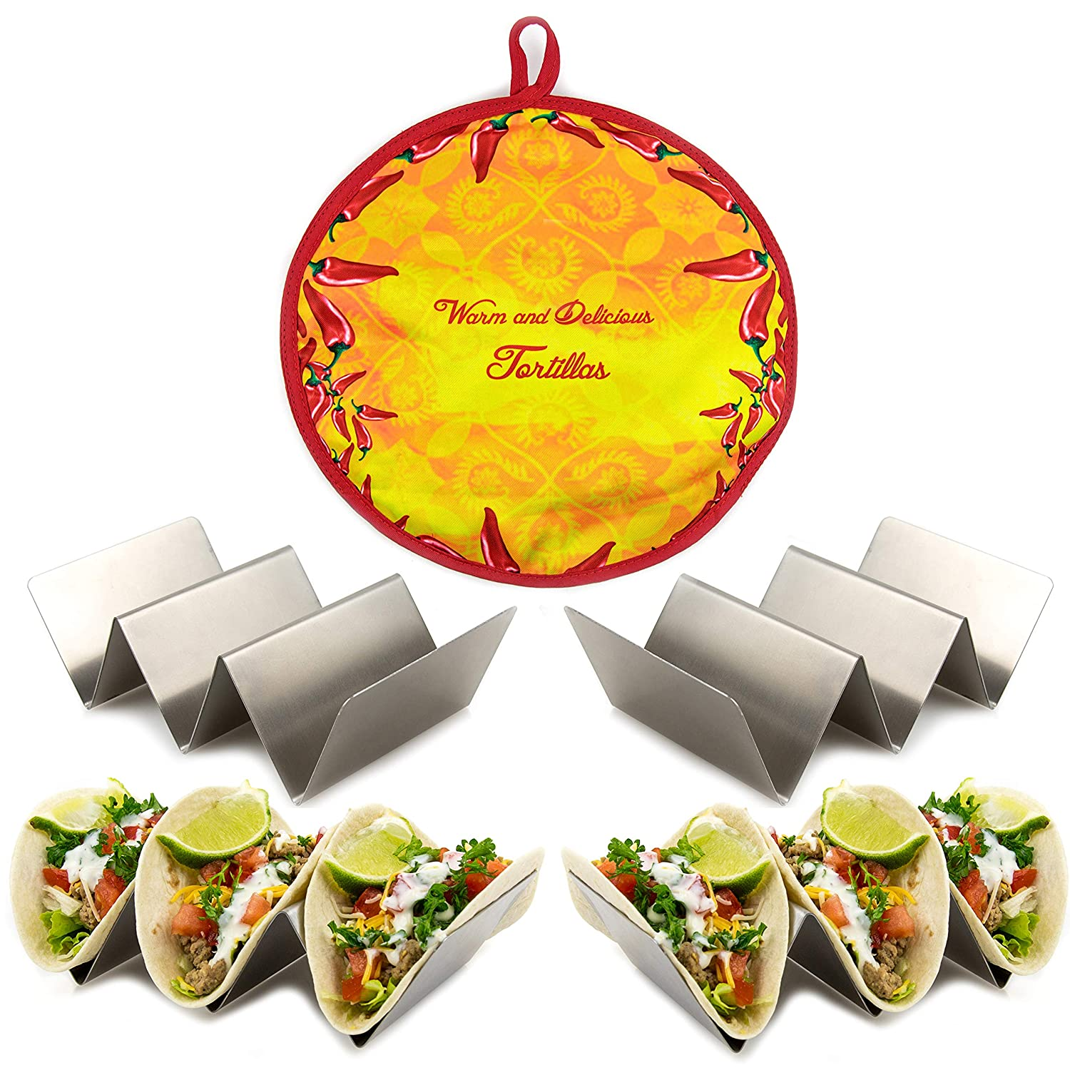 4 pack Taco Holder & Tortilla Warmer in one Premium Set – Stainless Steel Taco Racks that holds 3 Tacos each with a Pouch Bread Warmer that holds up to 12 tortillas Nasema Kitchen
