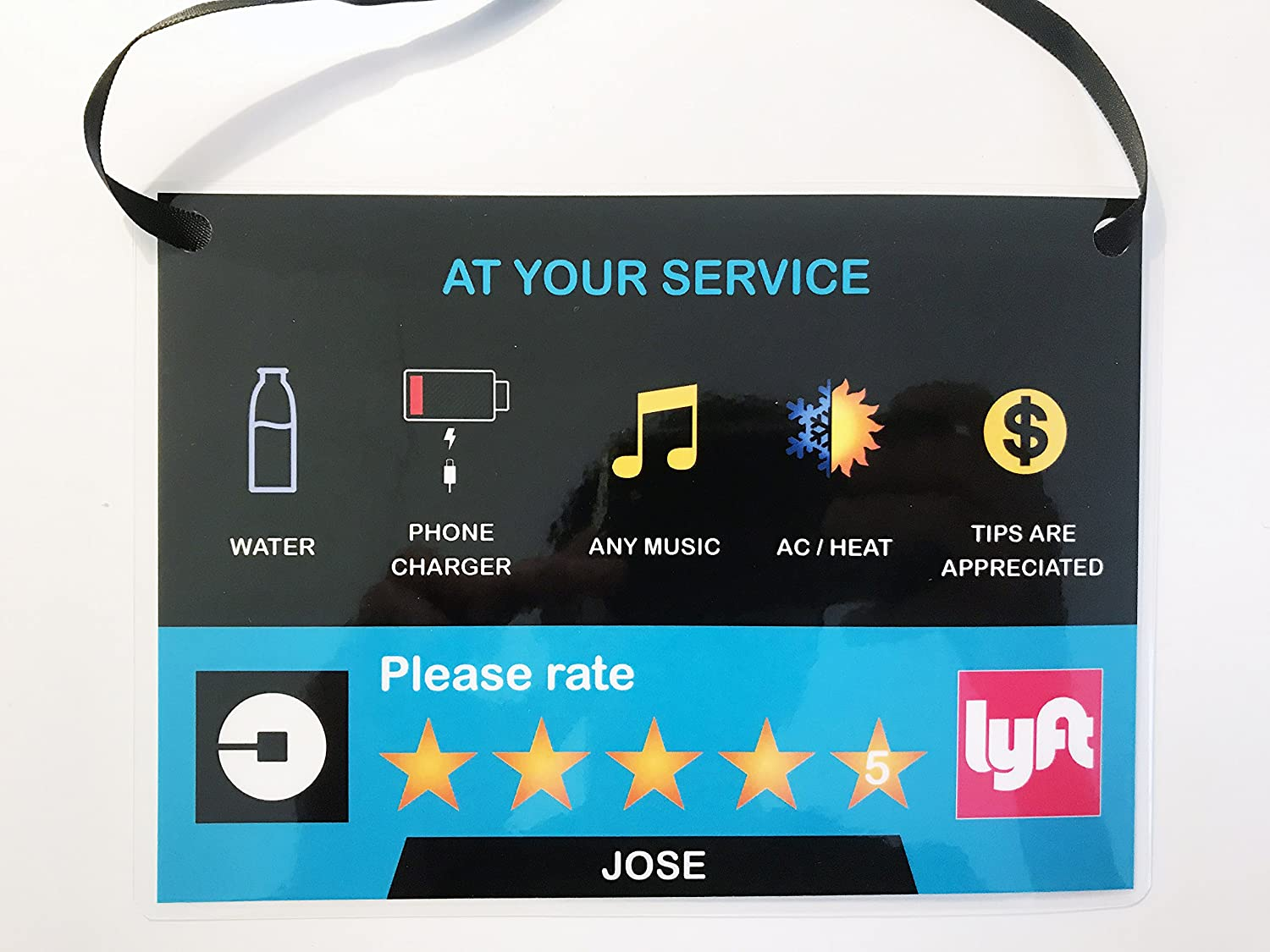 Amazon com set of 2 uber lyft 5 star ratings sign custom messages and made with your name v2 automotive