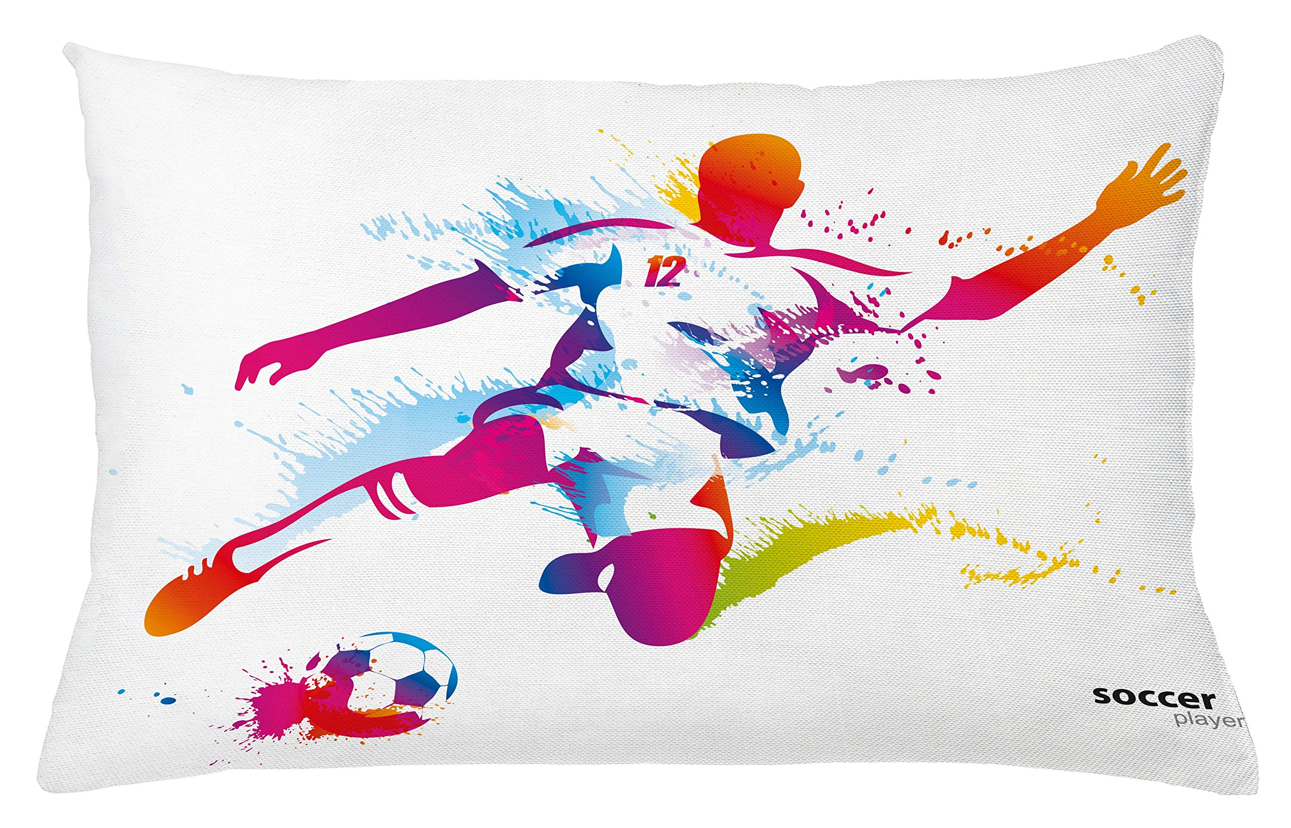 Ambesonne Teen Room Throw Pillow Cushion Cover, Soccer Proffesional Player Kicks Ball Watercolor Style Spray Championship Image, Decorative Rectangle Accent Pillow Case, 26'' X 16'', Magenta Orange by Ambesonne