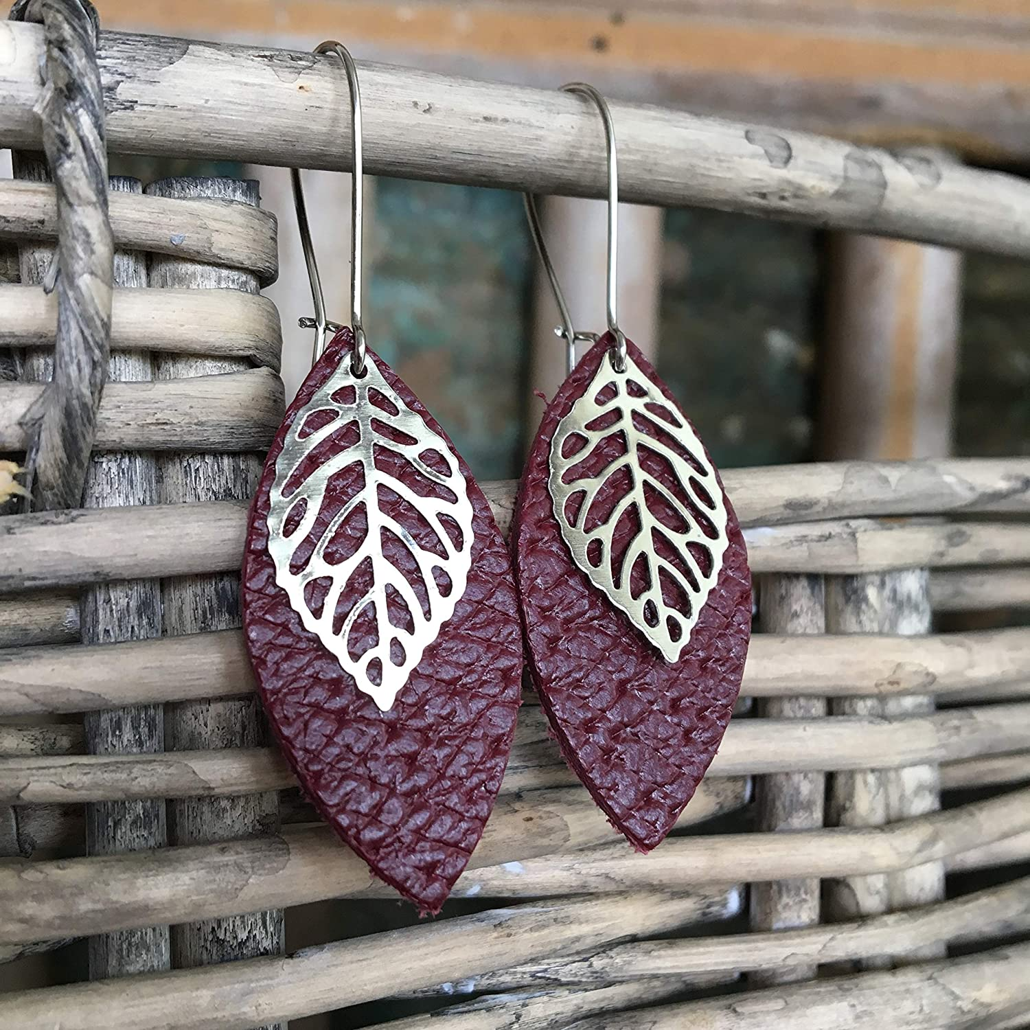 Leather Leaf Earrings - Burgundy Red Leather Petal with Metal Leaf Charm - Small Lightweight Bohemian Dangle Earrings