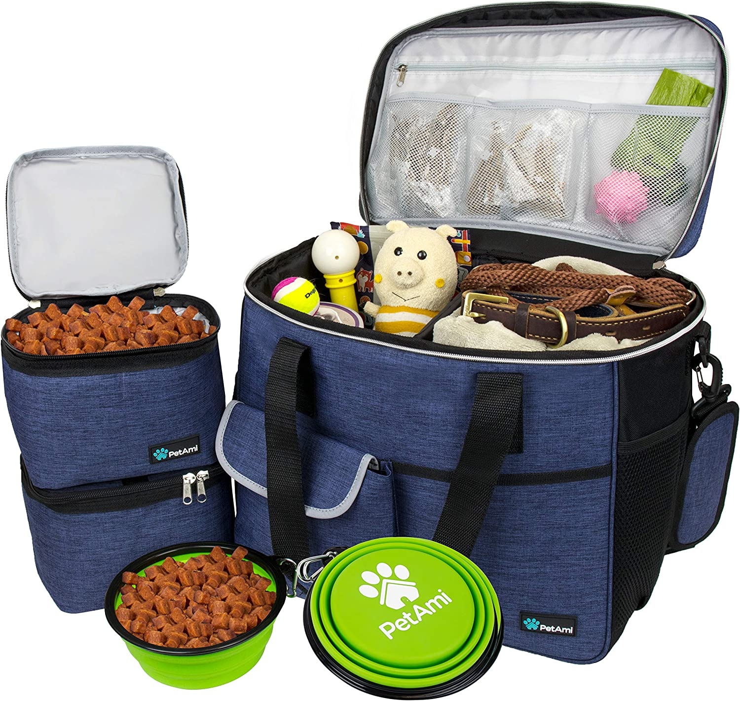 PetAmi Dog Travel Bag | Airline Approved Tote Organizer with Multi-Function Pockets, Food Container Bag and Collapsible Bowl | Perfect Weekend Pet Travel Set for Dog, Cat