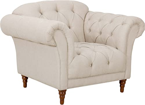 Homelegance St. 51 Claire Fabric Chesterfield Chair, Almond Brown