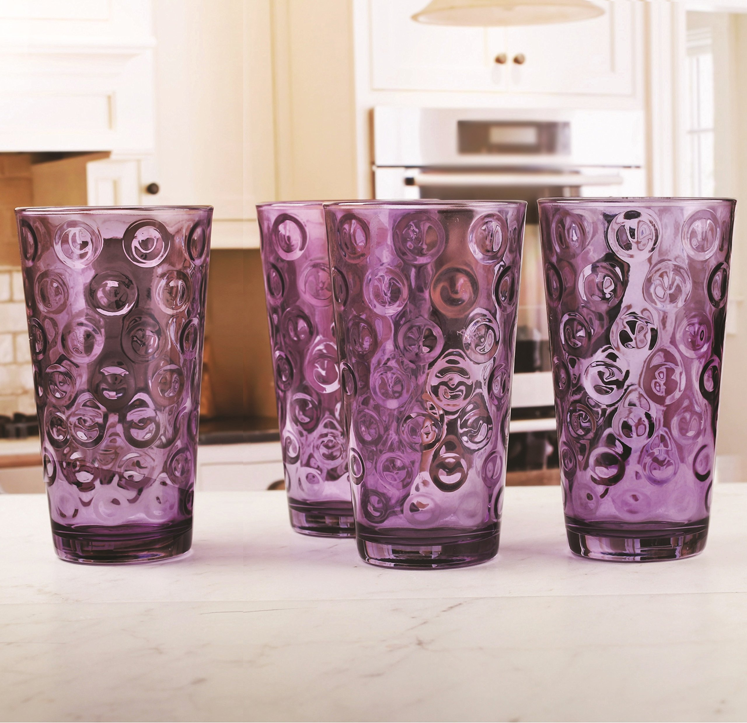 Circleware 44806 Circles Plum Huge Set of 16 Drinking 17 oz. and 8-13 oz. Double Old Fashioned Whiskey Juice Water Beer Beverage Glass, 16pc Set by Circleware (Image #5)