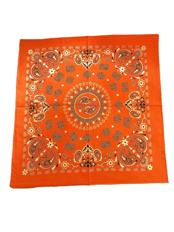 GIRRIJA Orange Printed Bandanas Cotton Paisley Bandanas