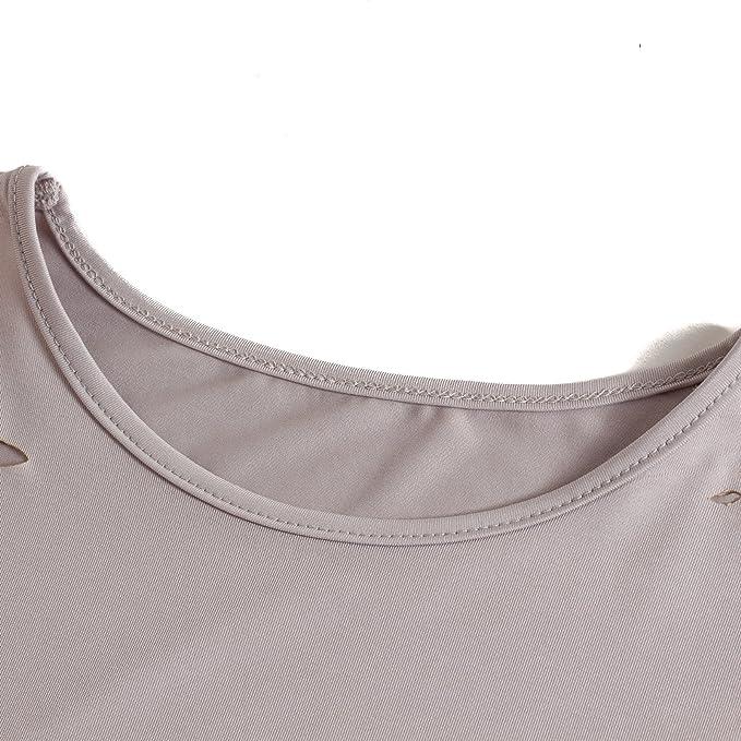 Beauty7 ES 38 T Shirt Holes Ripped Hollow Mangas Corta Dobladillo Irregular Ropas Vintaje Camisetas Mujer Verano Tops T Shirt Parte Superior Blusa Camisas ...