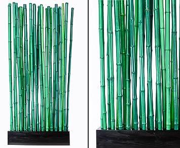 90x12x205cm Bambus Raumteiler Paris mit ca Sockel und 27 Rohre 2,8 bis 3,5cm Sichtschutzzaun Sichtschutzz/äune Blickschutz aus Bambus Raumabtrennung Paravent incl