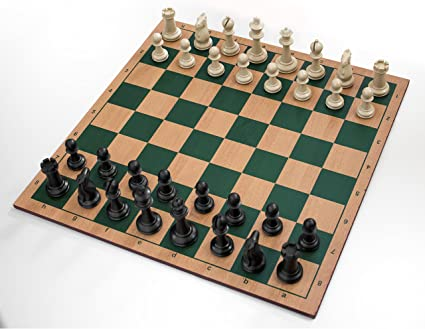 Gambol MDF Based Wooden Chess Board with Weighted Chessmen (Green)