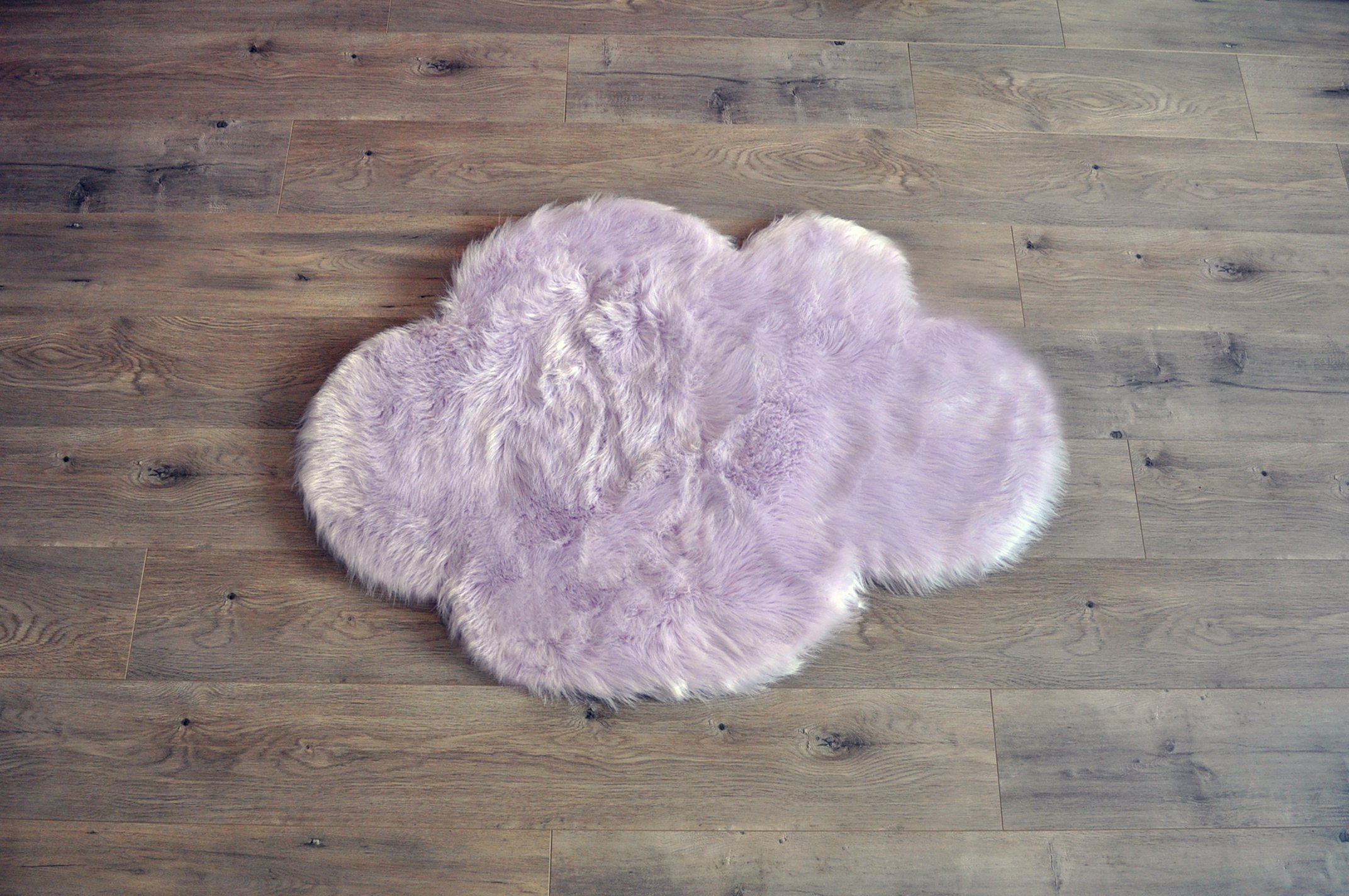 Machine Washable Faux Sheepskin Lavender Cloud Area Rug 32'' x 44'' - Soft and silky - Perfect for baby's room, nursery, playroom (2' 7'' x 3' 7'') - Lavender Cloud