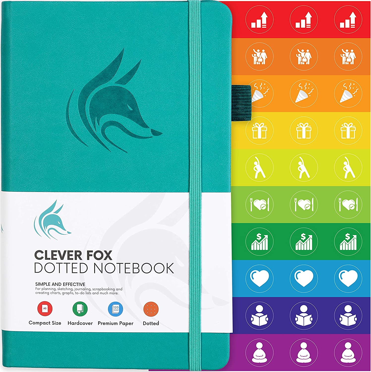 Clever Fox Dotted Notebook – Dot Grid Bullet Numbered Pages Hard Cover Notebook Journal With Thick 120g Paper and Pen Loop, Stickers, 3 Bookmarks, Smooth Faux Leather, 5.12'' x 8.27'' – Turquoise