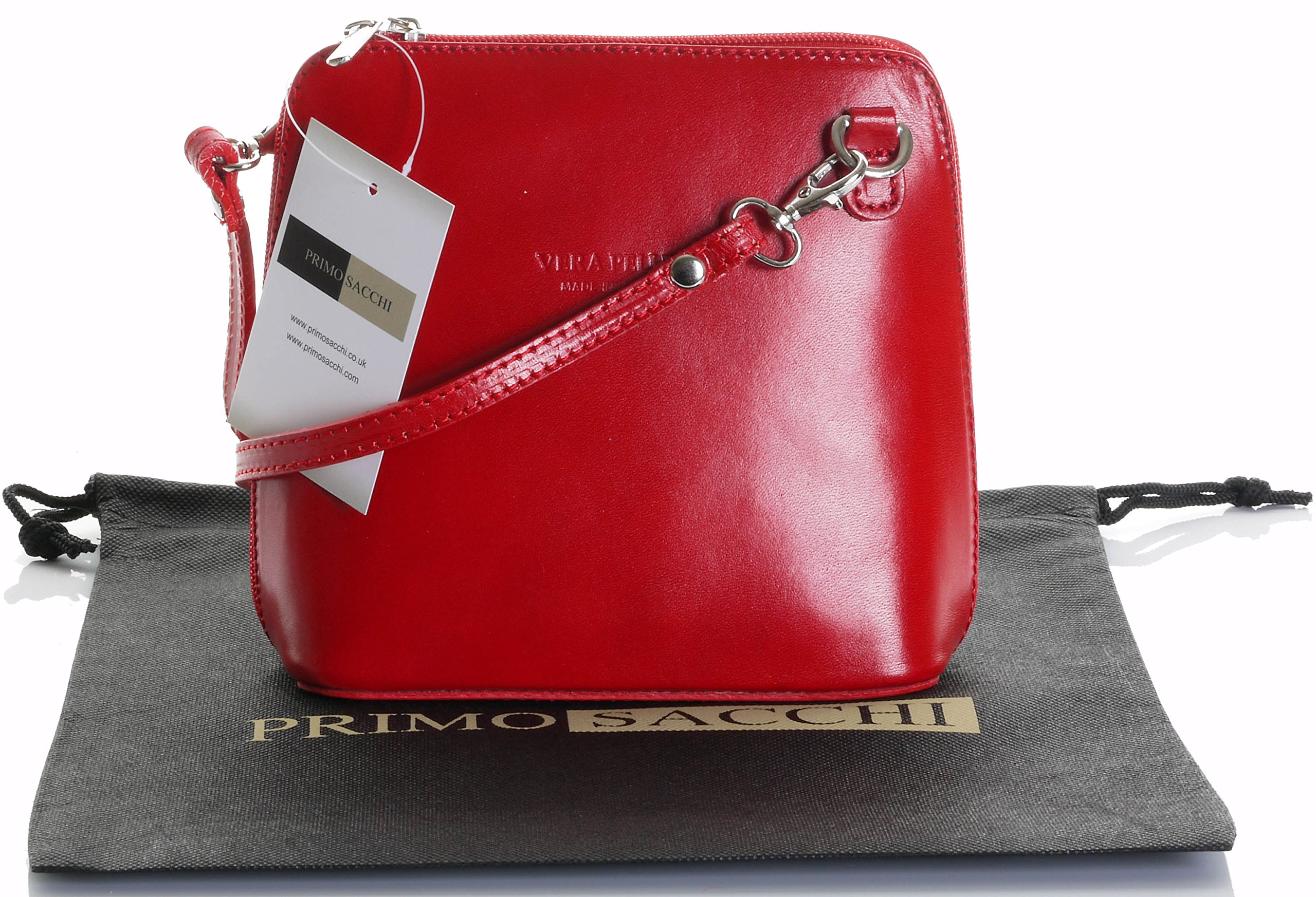 Italian Leather, Red Small/Micro Cross Body Bag or Shoulder Bag Handbag. Includes Branded a Protective Storage Bag.