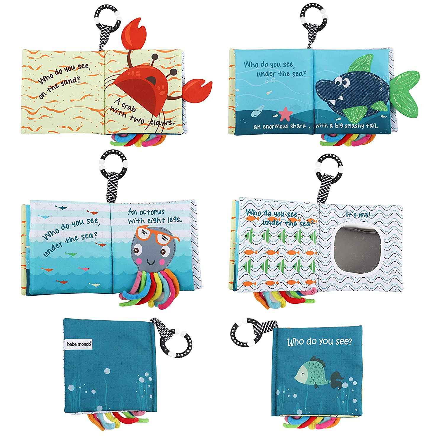 Fishy Tails Soft Activity Infants,Toddlers Sea Animal Non-Toxic Fabric Cloth Book,Tails book Kids with Teether,Teething book Crinkle Books and Toys for Early Education for Babies Octopus Shark Joli Vita