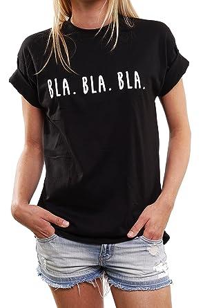212546cb0f7f MAKAYA Lustige Geschenke für Frauen - BLA BLA BLA - Oversize Shirt Damen  schwarz große Größen