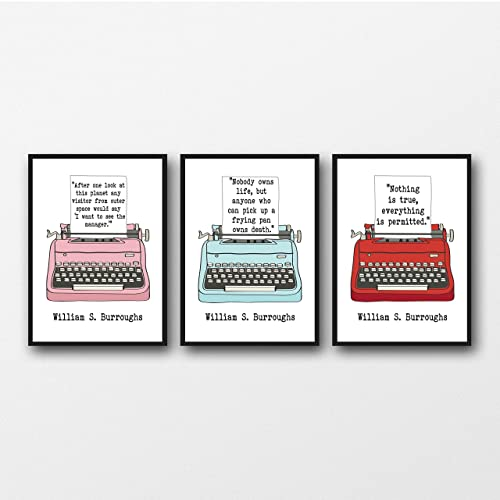 Amazoncom Set Of 3 William S Burroughs Quotes Unframed Literary