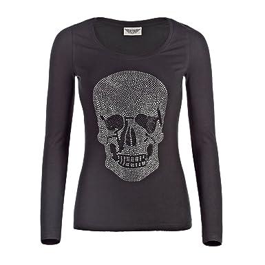 377de634c77d76 Damen Shirt T-Shirt Glitzer Strasssteine Skull Totenkopf Langarm Größe M  Elasthan Baumwolle schwarz Parys1407