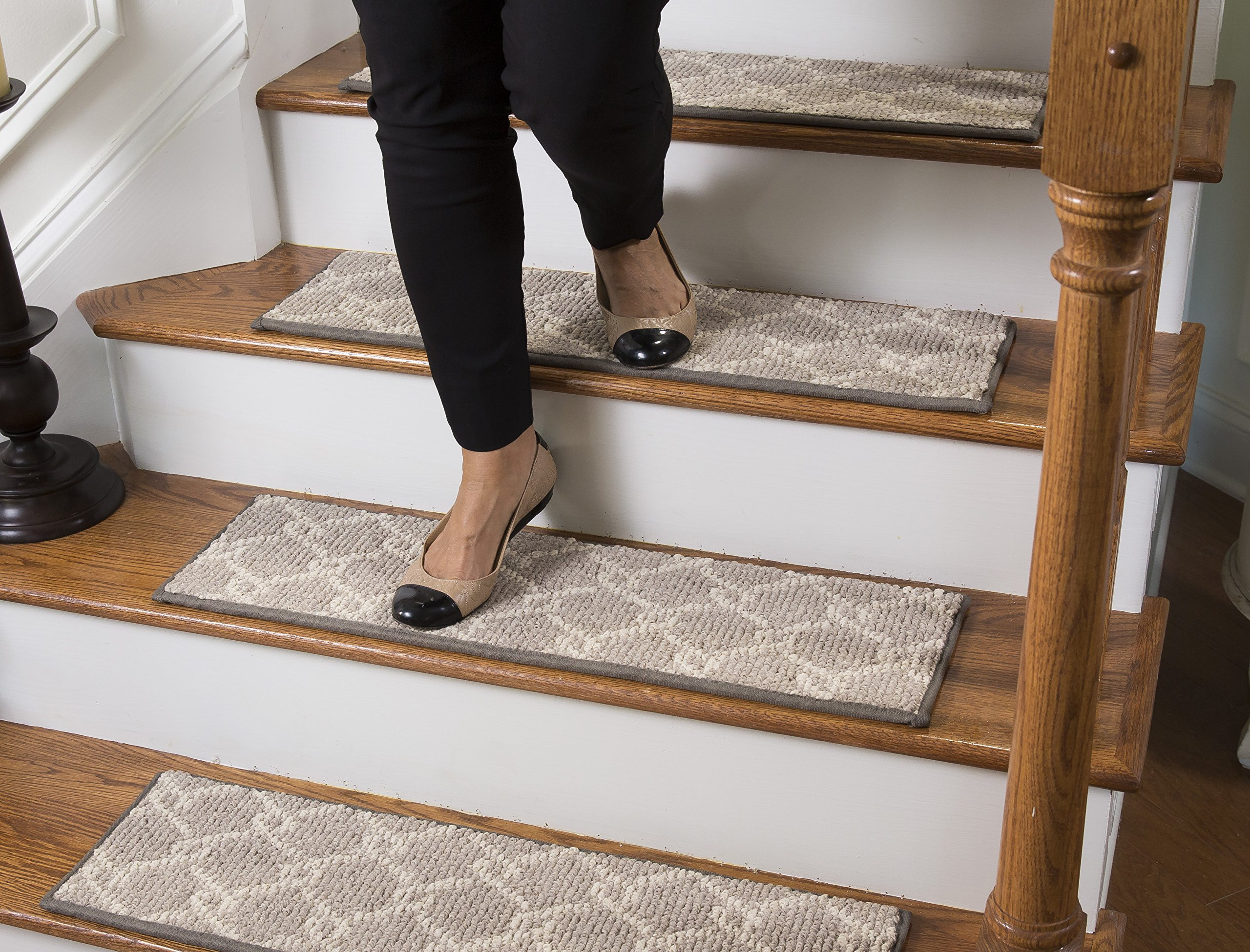 Tread Comfort Traditional Carpet Stair Treads, with Adhesive Padding (13, Parterre)