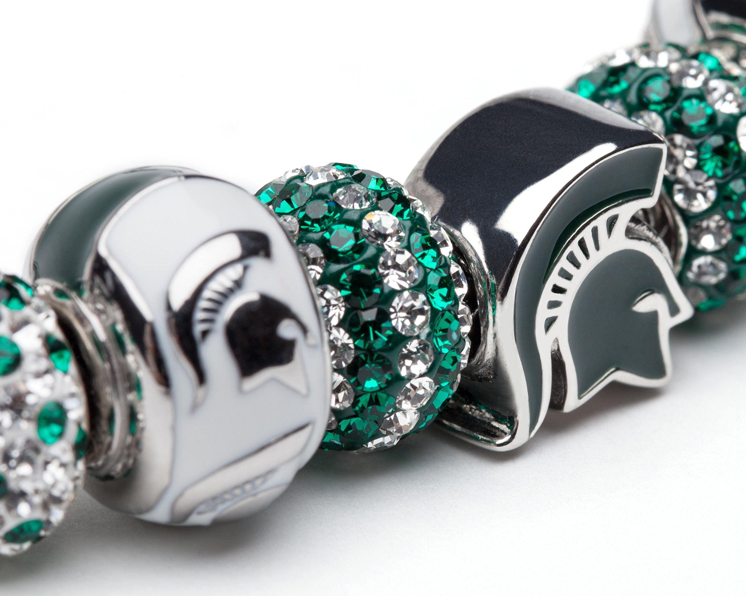 Michigan State Bracelet | MSU Spartans Charm Bracelet with 3 Spartan Charms and 4 Crystal Beads | Officially Licensed Michigan State University Jewelry | Michigan State Gifts | Stainless Steel by Stone Armory (Image #2)