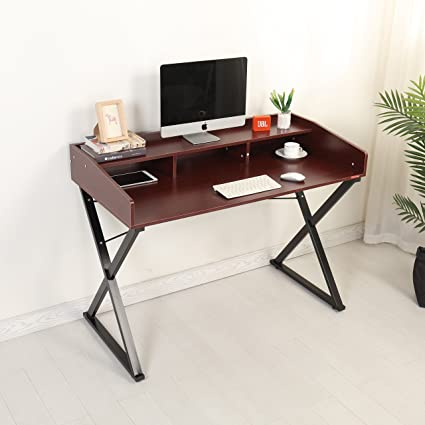 Mr IRONSTONE Modern Designer Computer Desk 47u0026quot; PC Laptop Study Writing  Table Workstation With Desktop