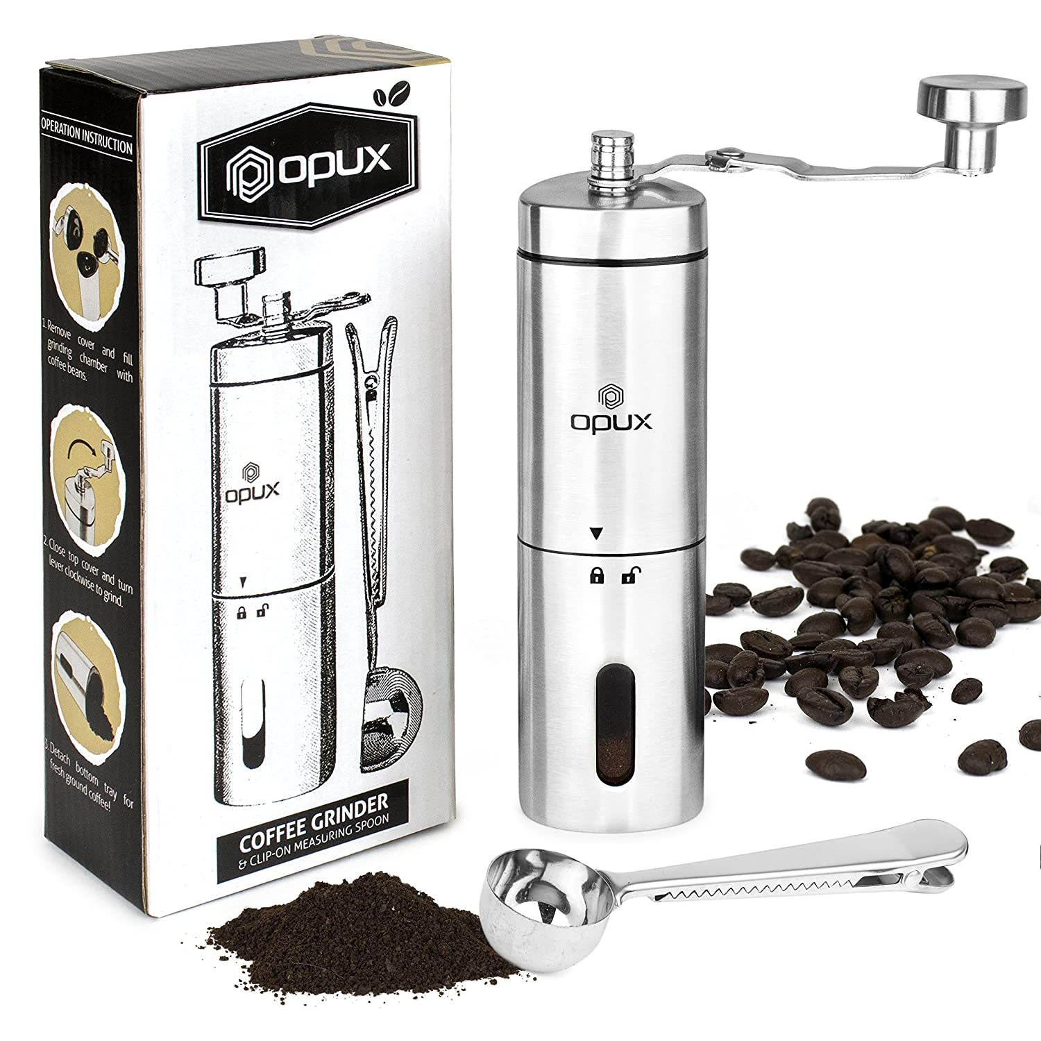 Coffee Grinder Manual | Hand Grinder Coffee Mill | Portable Travel Conical Ceramic Burr Bean Grinder | Adjustable Coarseness, Hand Crank Stainless Steel Mill for Precision Brewing OPUX