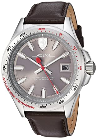 fcbe085144e Amazon.com  Ferrari Men s Pilota Stainless Steel Quartz Watch with Leather  Calfskin Strap