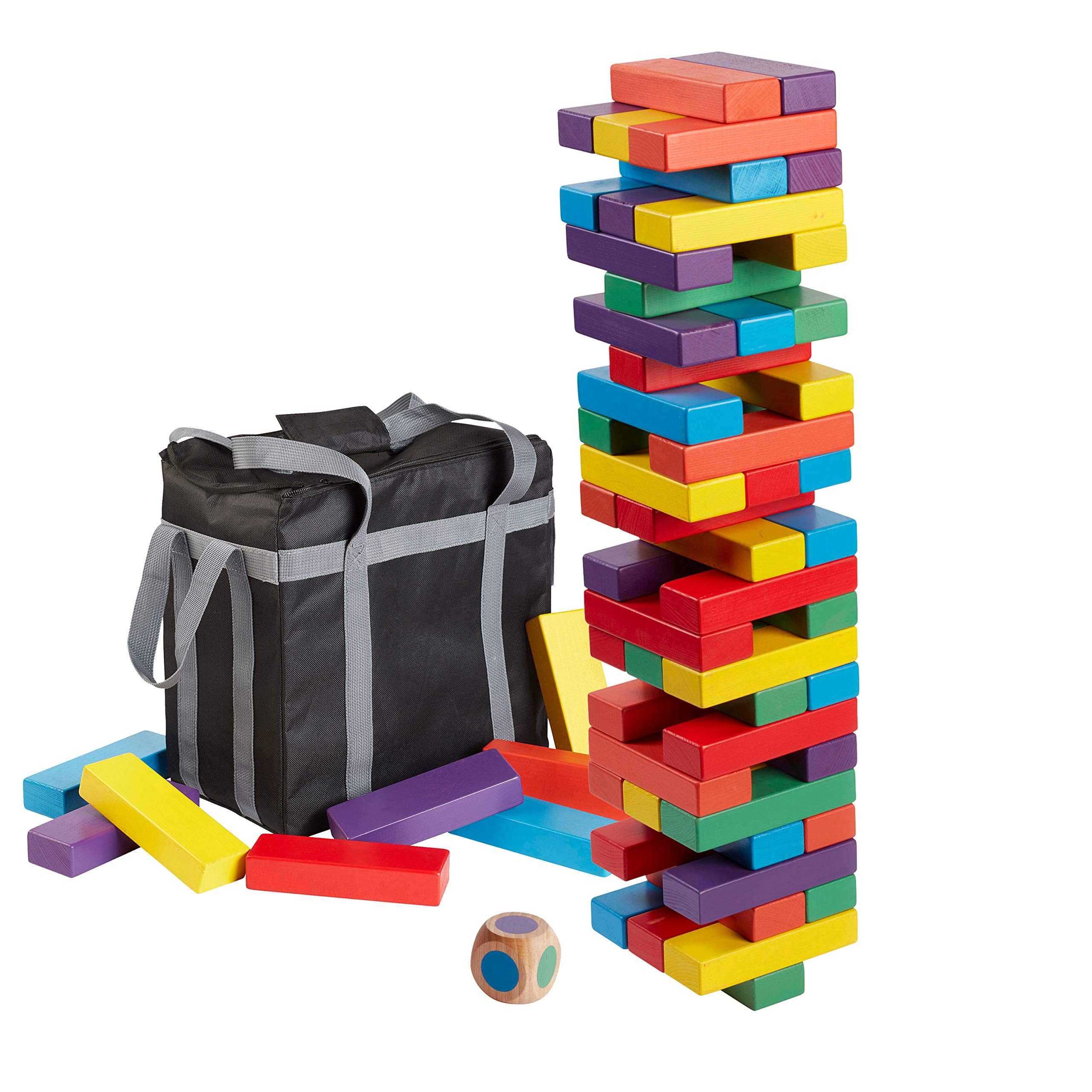 ECR4Kids Risky Rainbow Giant Tumble Tower, Wood Stacking Block Game with Colorful Dice and Storage Bag, Just Right 20'' Tall (54-Piece Set)