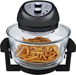 Big Boss Oil-less Air Fryer, 16 Quart, 1300W, Easy Operation with Built in Timer, Dishwasher Safe, Includes 50+ Recipe Book - Black