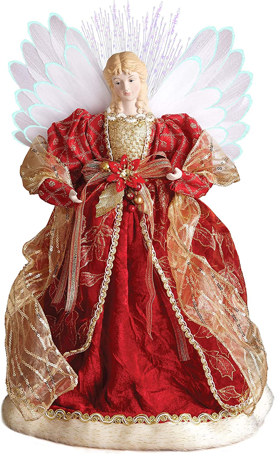 """Windy Hill Collection 18"""" Inch Standing Red Fiber Optic Lighted Angel Christmas Tree Topper or Table Top 167510"""