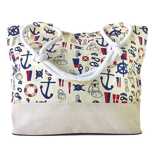 Bolsa Playa con Cremallera, Diseño Marítimo y Crema, Shopper ...