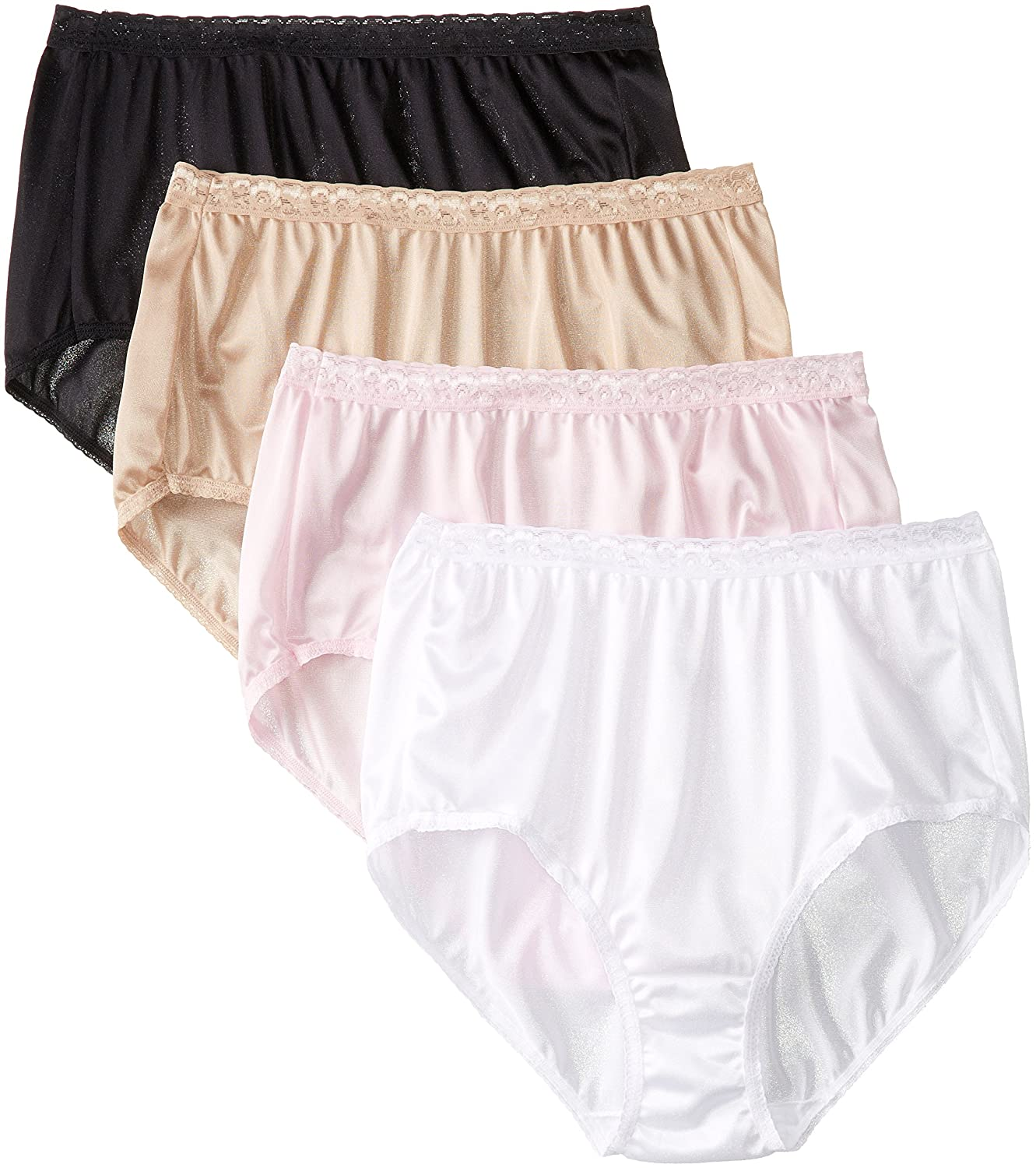 Just My Size Women's 4 Pack Nylon Brief Panty Just My Size IA- Panties 0601P4