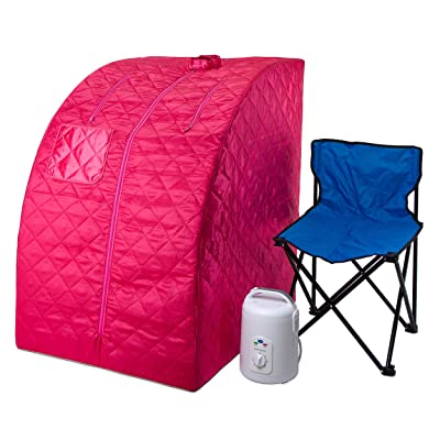 Durasage Lightweight Portable Personal Steam Sauna Spa for Weight Loss, Detox, Relaxation at Home, 60 Minute Timer, 800 Watt Steam Generator, Chair Included (Pink) : Garden & Outdoor