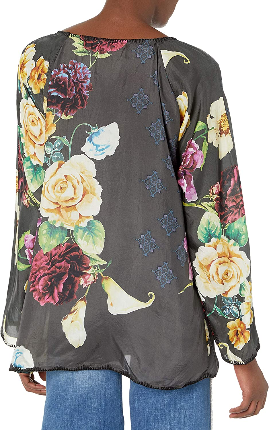 Johnny Was Womens Silk Floral Printed Blouse Blouse Multi