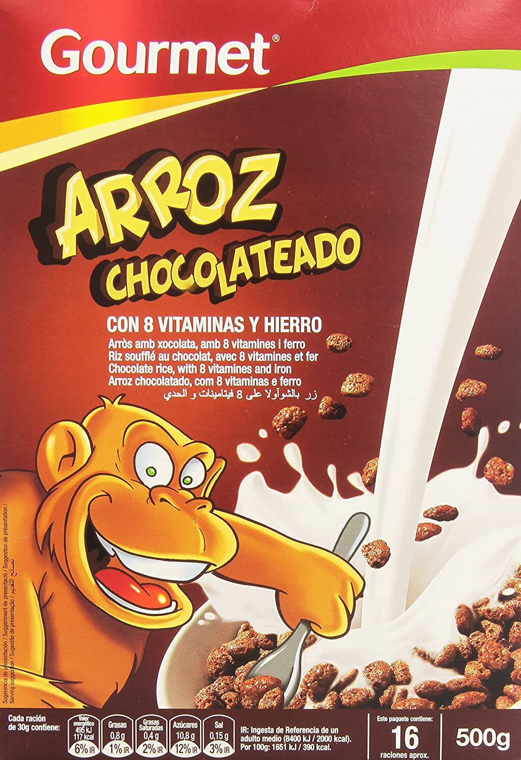 Gourmet Arroz Chocolateado, 8 Vitaminas y Hierro - 500 g: Amazon ...