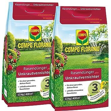 Compo Floranid Rasendünger Mit Unkrautvernichter 2 X 12 Kg Für 2 X