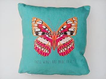 Homestreet Diseño de Mariposas cojín en Rosa o Azul Turquesa ...