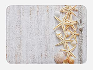 Ambesonne Seashells Bath Mat, Seashells and Starfish with Navy Rope in Vertical Direction Wood Surface Ocean Beach, Plush Bathroom Decor Mat with Non Slip Backing, 29.5 W X 17.5 W Inches, Ivory