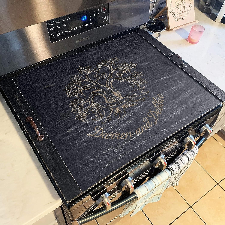 Personalized Custom Stove Top Cover Serving Tray Noodle Board Rustic Farmhouse Decor