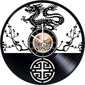 choma China Dragons Vinyl Record Wall Clock - Living Room or Kitchen wall decor - Gift ideas for men and women, parents – Beautiful Ornament Unique Art Design