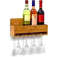 Relaxdays Woody Scaffale Portabottiglie Vino con Porta Bicchieri Integrato, Marrone, 36x11.5x17 cm