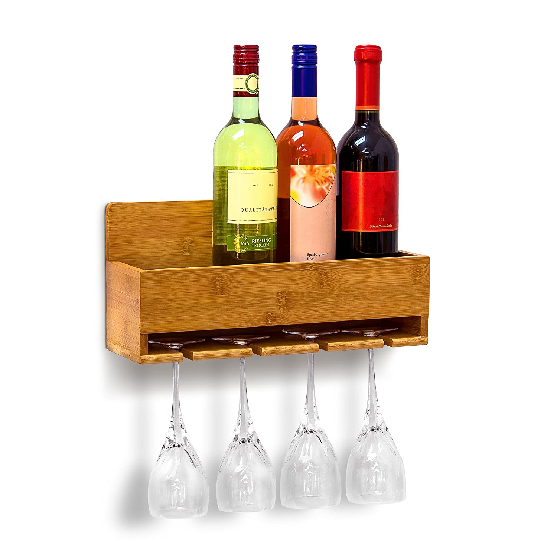 Relaxdays Weinregal mit Glashalter H x B x T: ca. 17 x 37 x 11,5 cm Flaschenregal aus Bambus mit Platz fü r 4 Flaschen und 4 Glä ser zur Wandmontage Hä ngeregal Holz als Weinflaschenhalter Ablage, natur 10019144