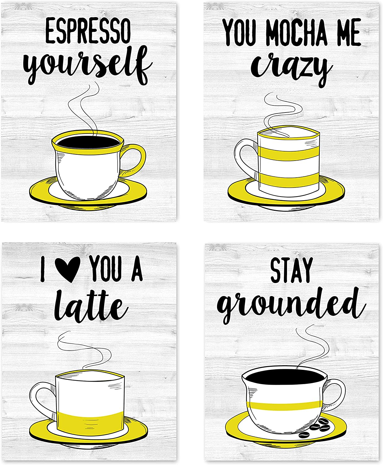 """Retro Vintage Inspirational Kitchen Restaurant Wall Art Coffee Mugs Tea Prints Posters Signs Funny Puns Sayings Quotes for Rustic Modern Farmhouse Country Home and Dining Decor Decorations Set of 4 Unframed 8"""" x 10"""" Yellow Black & White"""